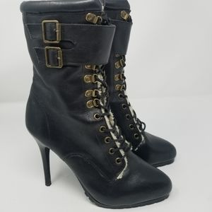 Aldo Black Leather Wool Lining Lace Booties